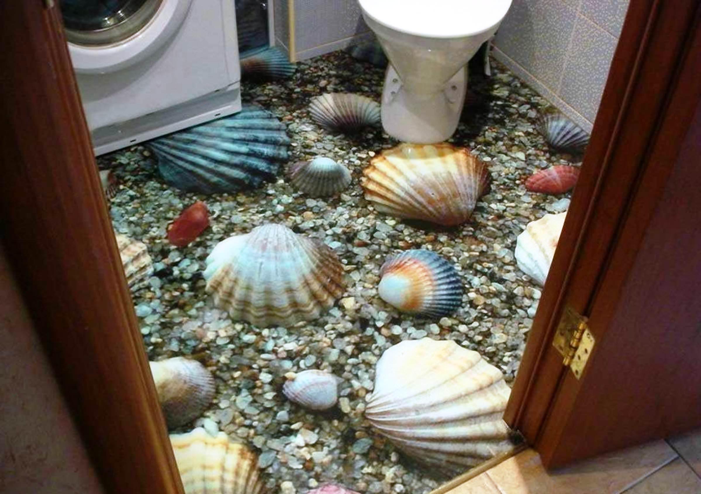 3Д полы в ванной — яркое решение интерьера