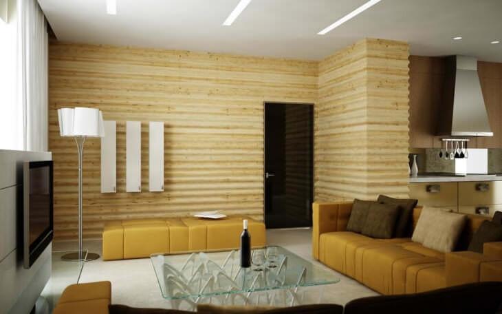 Дерево на стене как отделка и элемент оформления интерьера