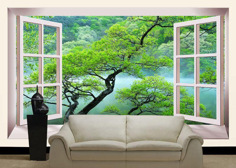 Использование в интерьере фотообоев с видом из окна
