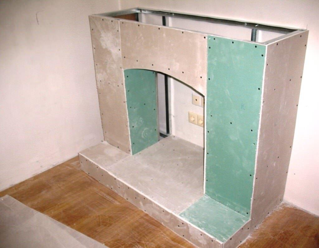 Как сделать камин в квартире из гипсокартона самостоятельно