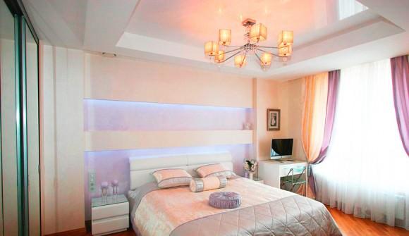 Как смотрятся натяжные потолки для спальни: 41 фото идея