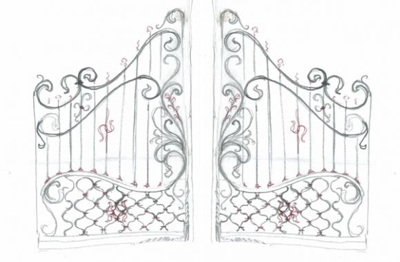 Кованые ворота и калитки на эскизах и фотографиях