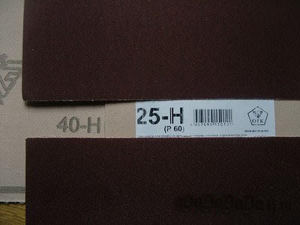 Маркировка наждачной бумаги в зависимости от ее назначения