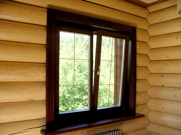 Монтаж деревянного окна в деревянном доме