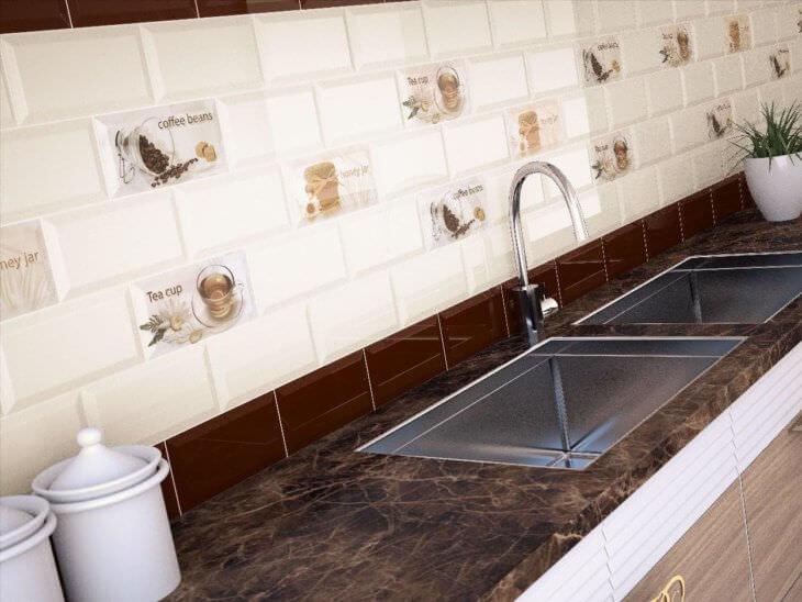 Плитка в кухню на стену: достоинства и разновидности отделки