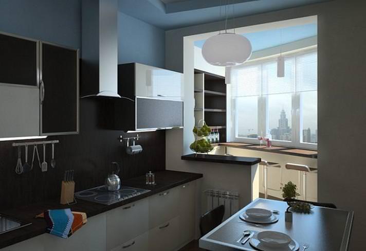 Советы по дизайну кухни совмещенной с балконом
