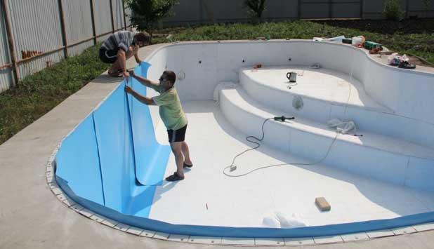 Технология установки плёнки ПВХ для бассейна своими руками, инструкция по монтажу