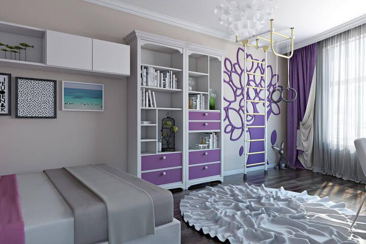 дизайн підліткової спальні для дівчинки 3d